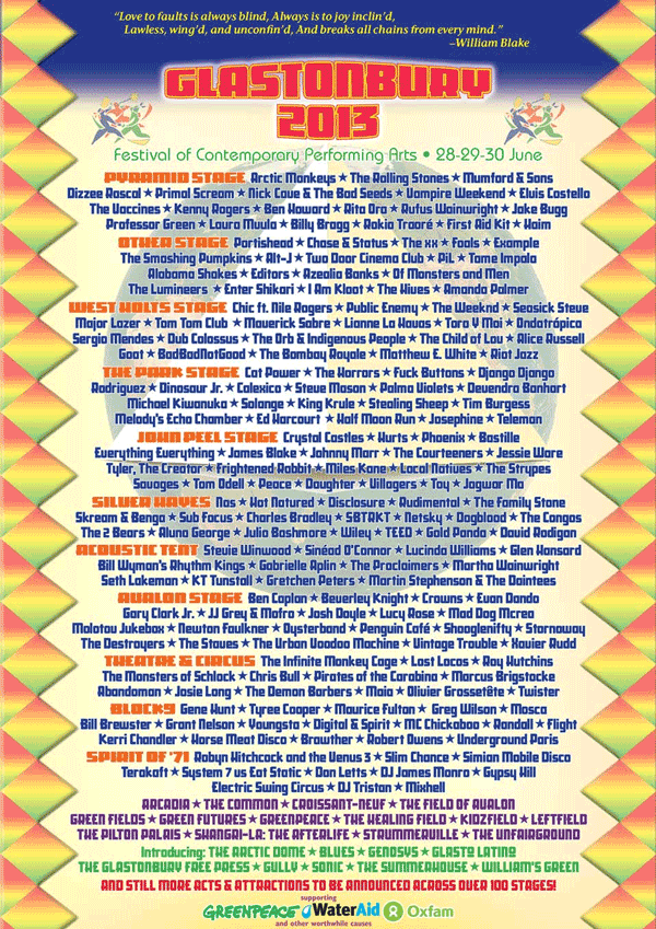 Glastonbury 2013 lineup