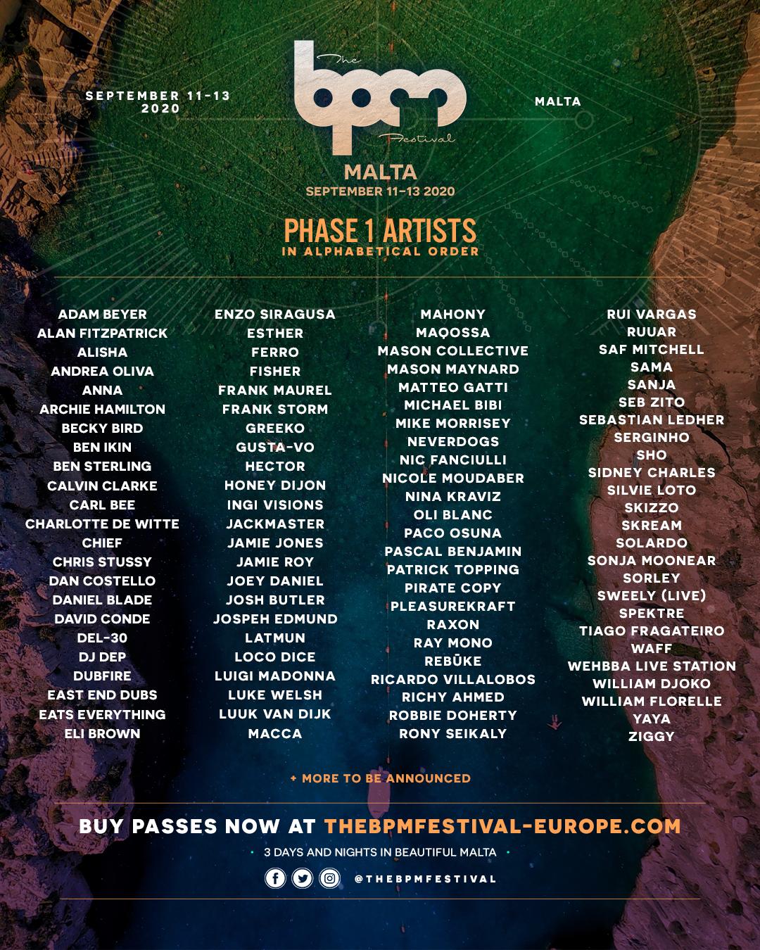 BPM Festival Malta 2020 Lineup
